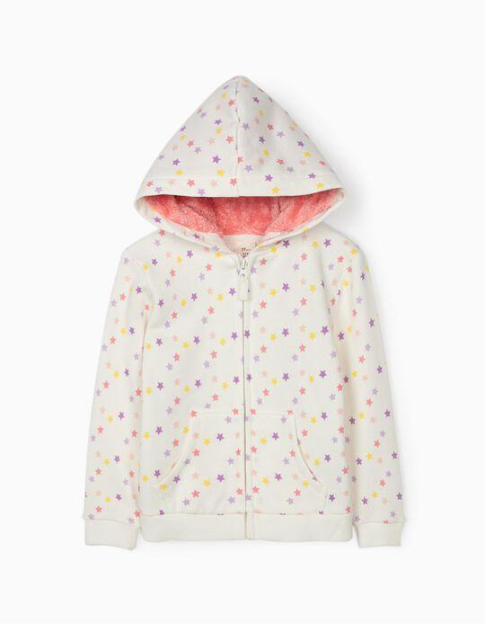 Hooded Jacket for Girls, 'Stars', White