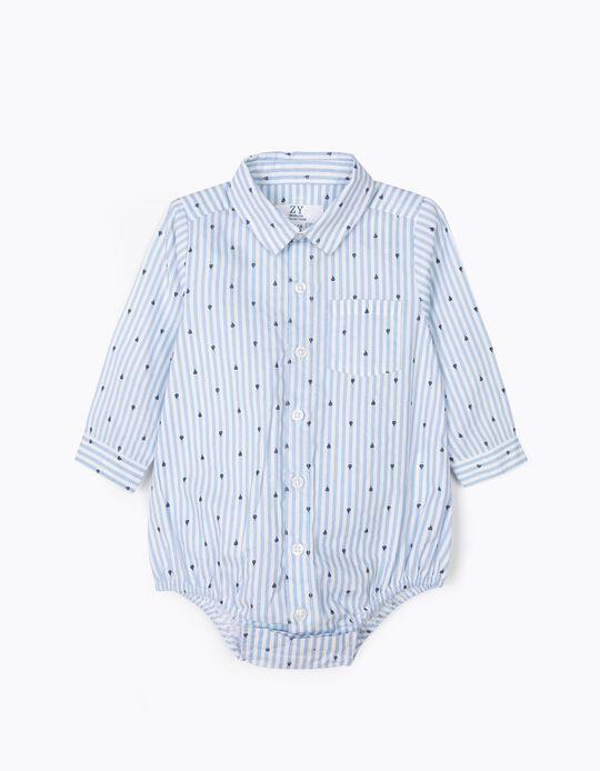Body Camisa para Recién Nacido de Barcos y Rayas, Azul