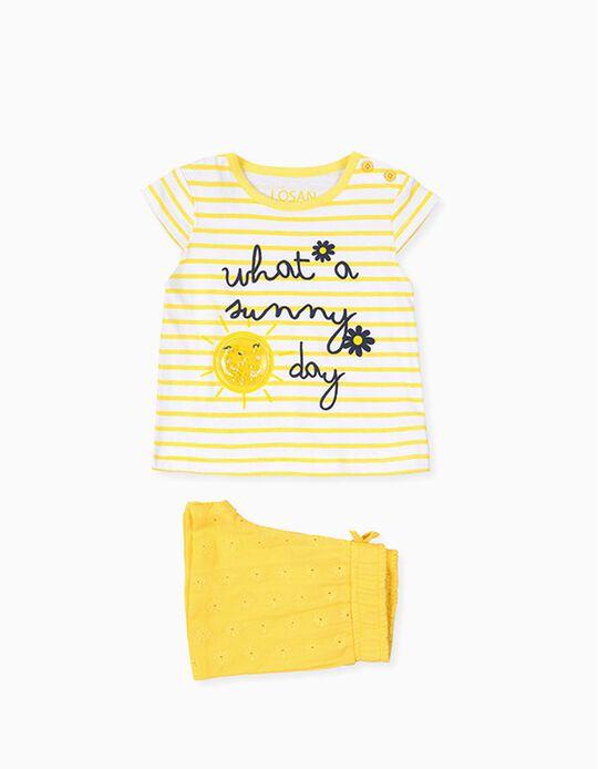 T-shirt e Calções para Bebé Menina LOSAN, Amarelo/Branco