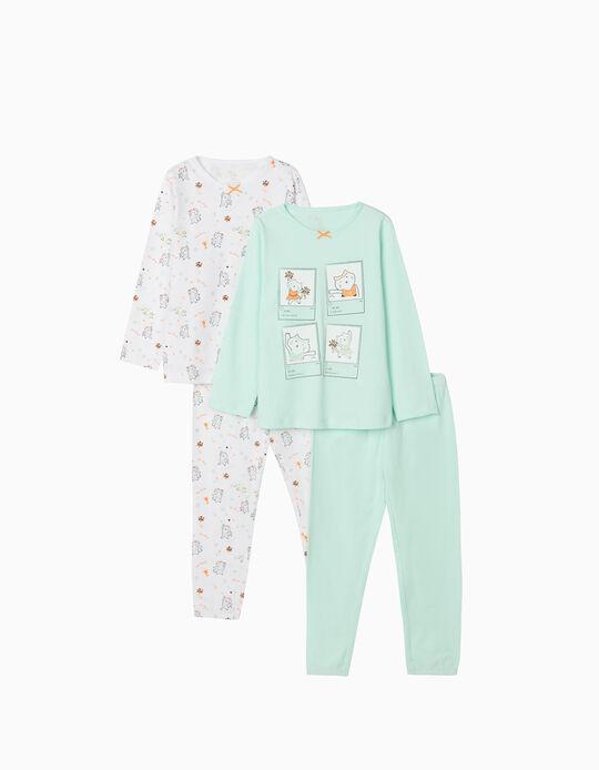 2 Long Sleeve Pyjamas for Girls, 'Sporty Cat', White/Aqua Green