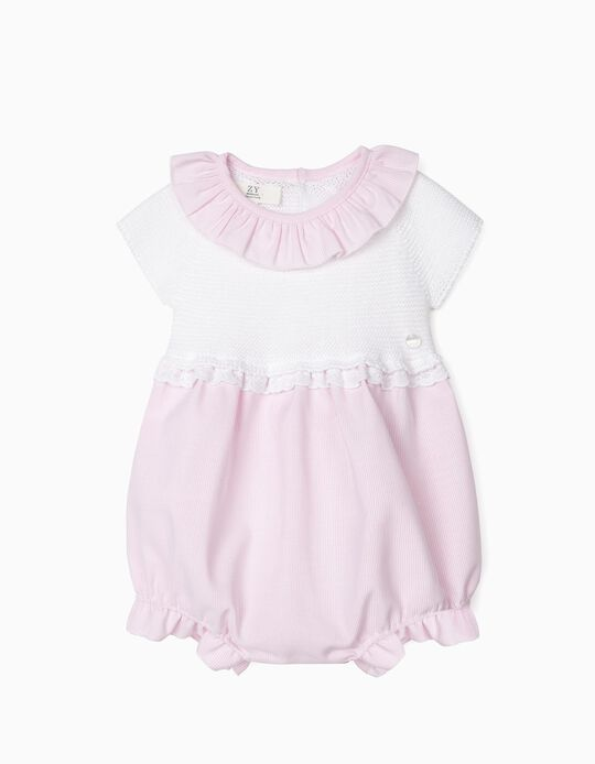 Dual Fabric Jumpsuit for Newborn Baby Girls, White/Pink