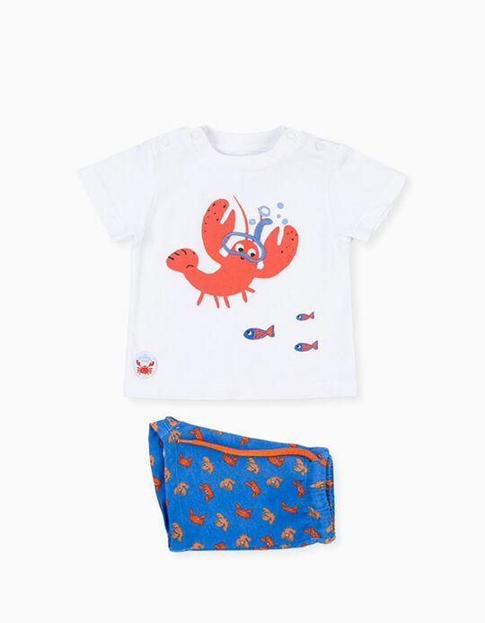 T-shirt e Calções para Recém-Nascido LOSAN, Azul/Branco