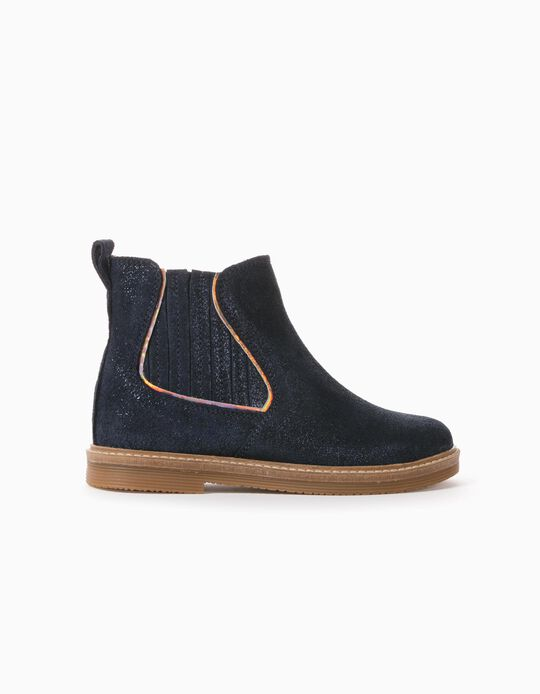 Suede Shiny Ankle Boots for Baby Girls, Dark Blue