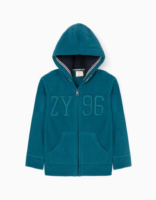 Polar Fleece Jacket for Boys 'ZY', Turquoise Blue