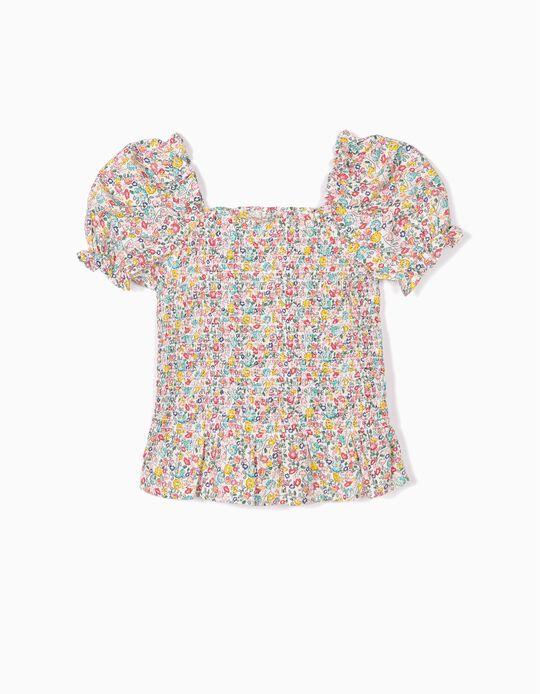 Blusa para Niña con Fruncido y Flores, Multicolor