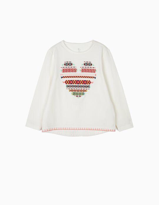 T-shirt de Manga Comprida para Menina com Coração Bordado, Branco