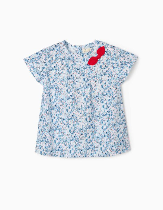 Chemisier fille 'Flowers', bleu/blanc/rouge