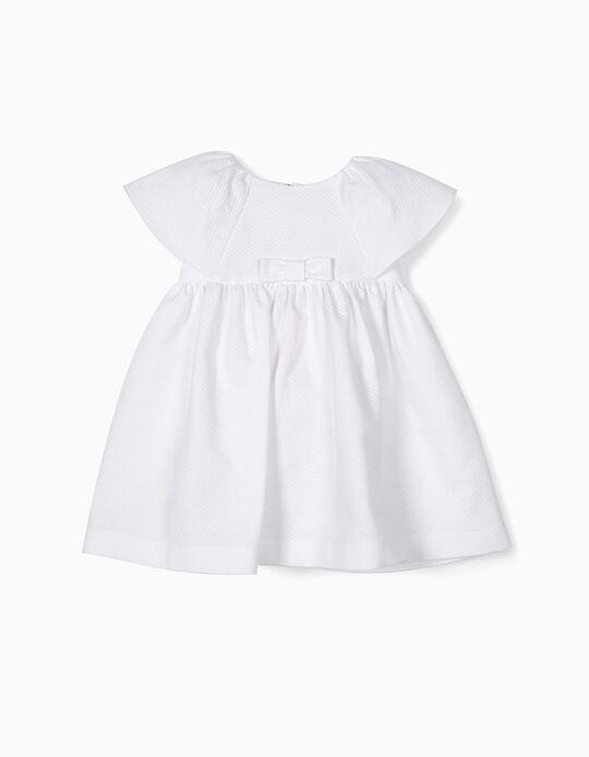 Vestido para Bebé Menina com Textura, Branco