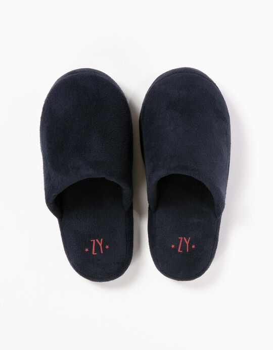 Dark Blue Bedroom Slippers