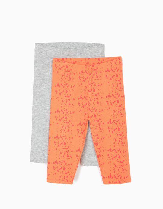 2 Leggings Cortas para Niña 'Paint', Naranja y Gris