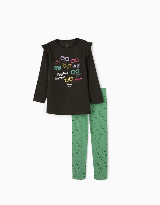 Túnica + Leggings para Menina 'Fashion History', Cinza/Verde