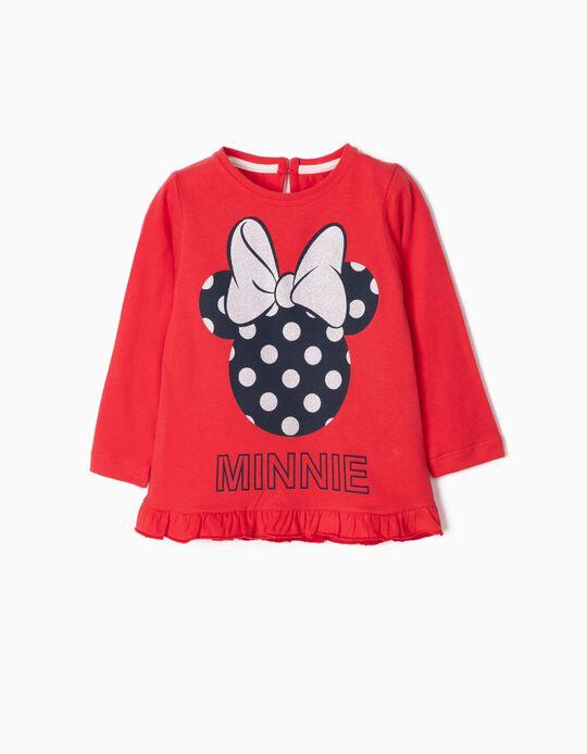 T-shirt Manga Comprida para Bebé Menina 'Minnie', Vermelho