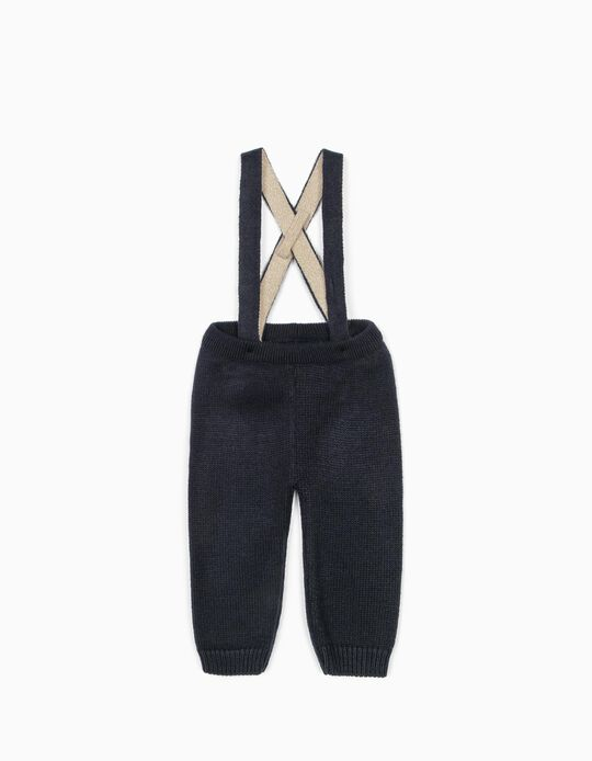 Knitted Trousers with Straps for Newborn Babies, Dark Blue