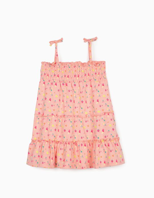 Printed Dress for Baby Girls, Pink