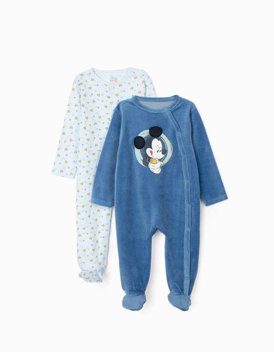 2 Grenouillères Nouveau-né 'Mickey', Bleu