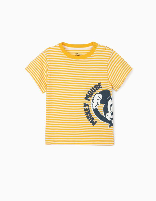 Striped T-shirt for Baby Boys 'Mickey', Yellow