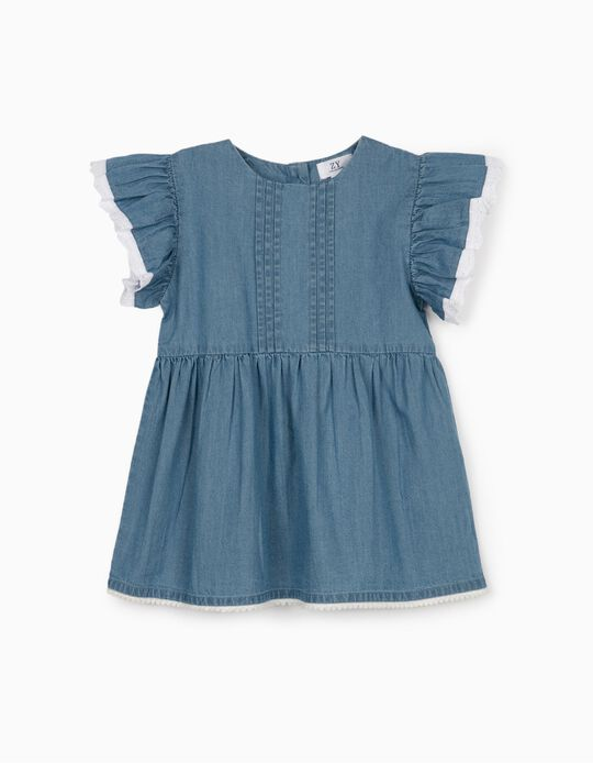 Denim Blouse for Girls, Blue