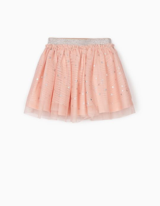Tulle Skirt for Baby Girls, Pink/Silvery