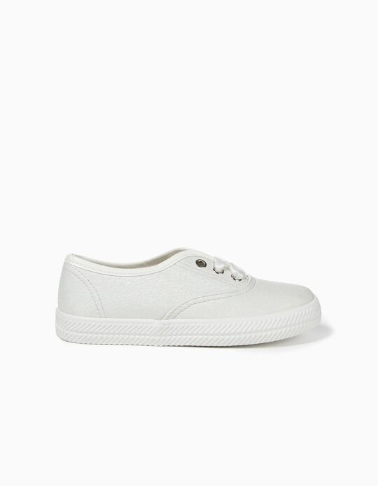 Shiny Trainers for Girls, White