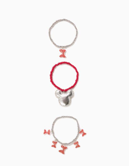 Pulsera Triple para Niña 'Minnie', Rojo/Plateado