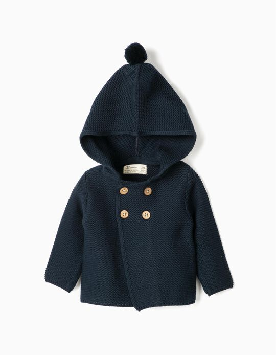 Hooded Knit Jacket for Newborn, Dark Blue