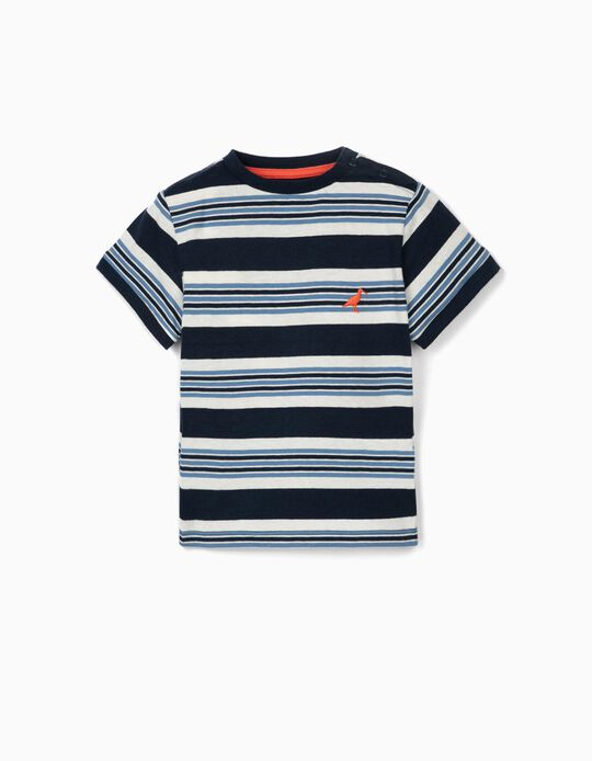 Striped T-shirt for Baby Boys, Blue/White