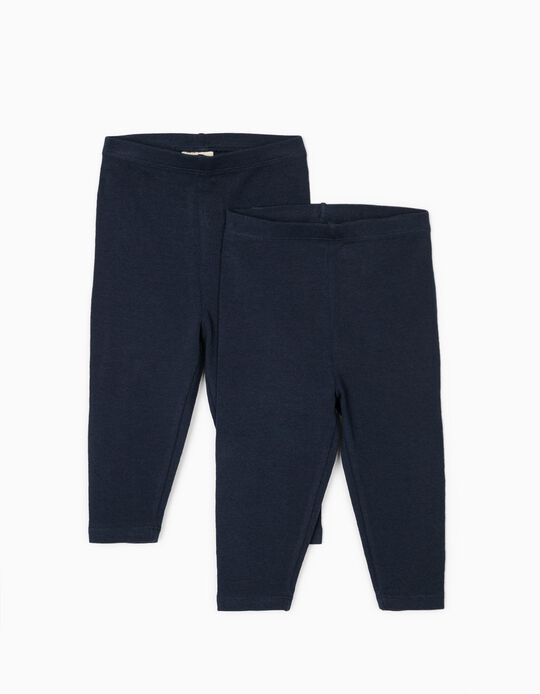 2 Leggings for Baby Girls, Dark Blue