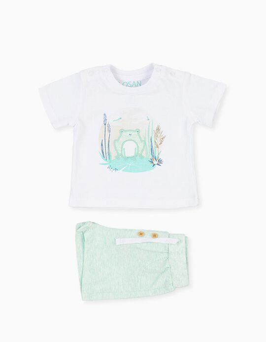 T-shirt e Calções para Recém-Nascido LOSAN, Branco/Verde