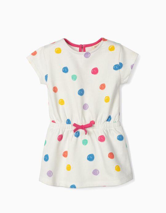 Vestido para Bebé Menina 'Colourful Dots', Branco