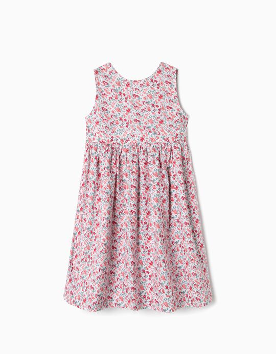 Floral Dress for Girls, White and Red