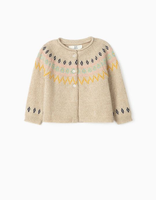 Jacquard Cardigan for Newborn Baby Girls, Beige