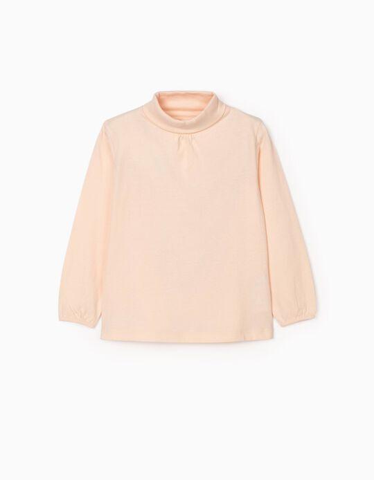 Camiseta de Manga Larga e Cuello Alto para Niña, Rosa