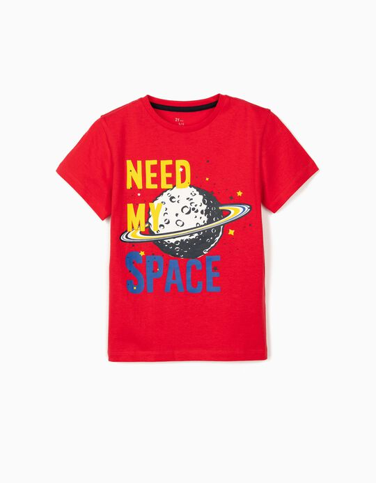 T-shirt para Menino 'Need My Space', Vermelho