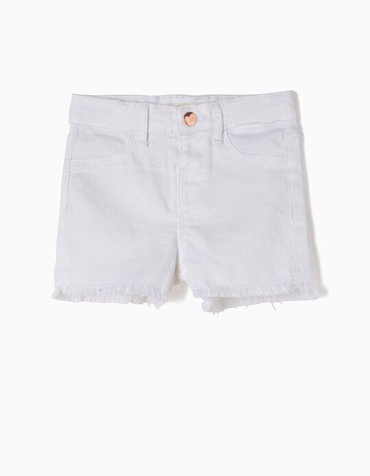 Short Blanco Deshilachado