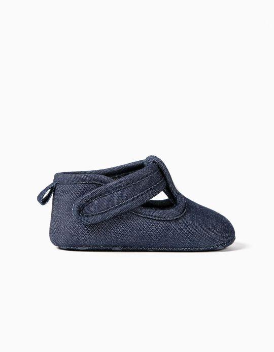 Sapatos Denim para Recém-Nascido, Azul Escuro