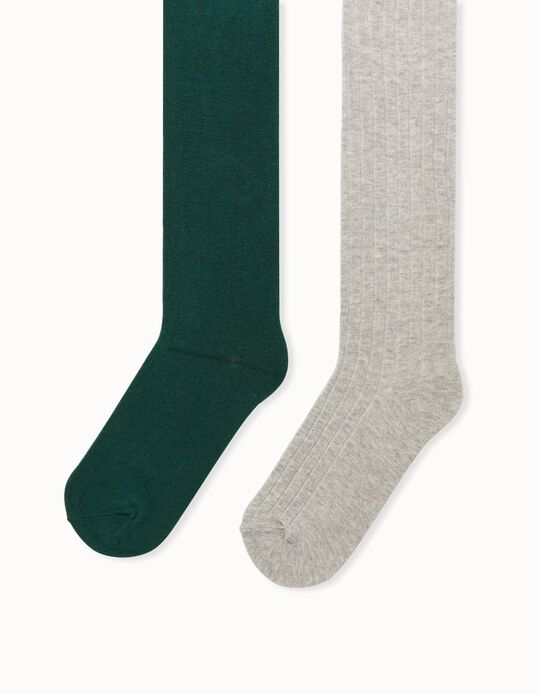 2 Knit Tights for Girls, Grey/Green