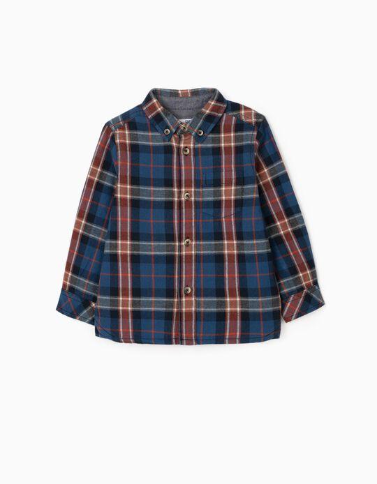 Camisa Ajedrez para Bebé Niño, Azul/Rojo