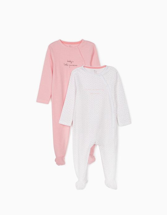 2 Sleepsuits for Baby Girls, 'Stripes & Stars', White/Pink