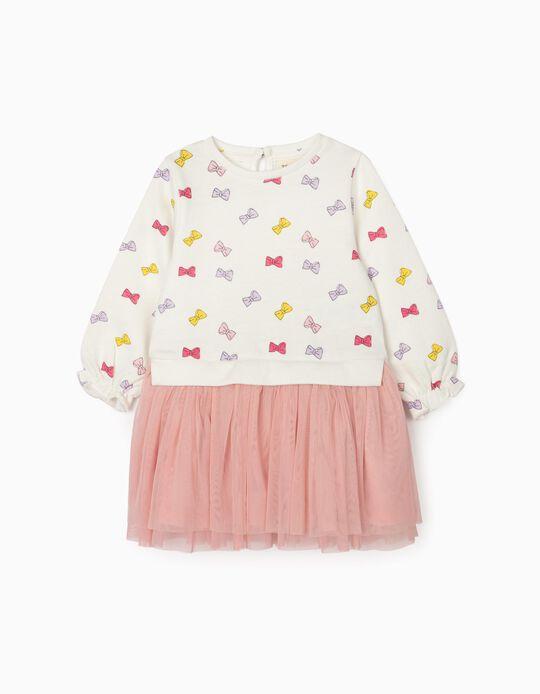 Vestido de Dos Materias para Bebé Niña 'Bows', Blanco/Rosa