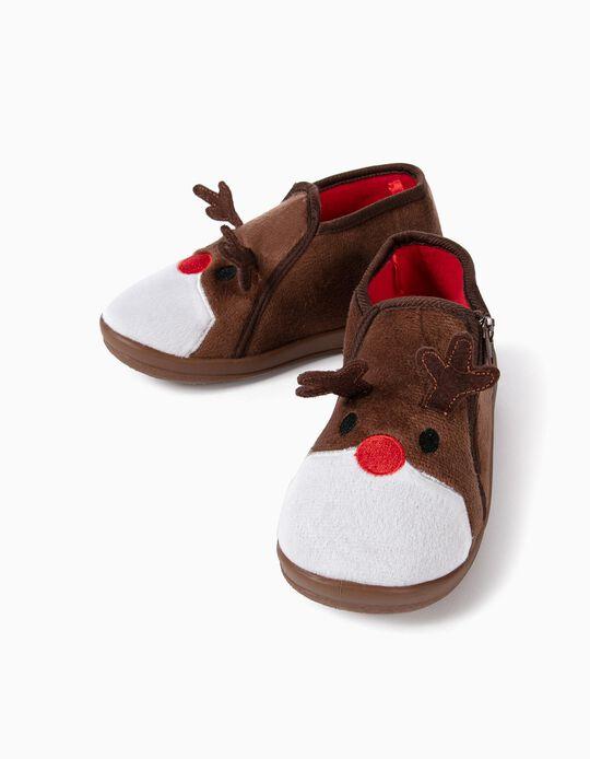 Zapatillas de Casa Infantiles 'Christmas Reindeer', Marrones