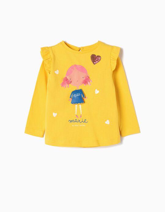 T-shirt Manga Comprida para Bebé Menina 'Marie', Amarelo