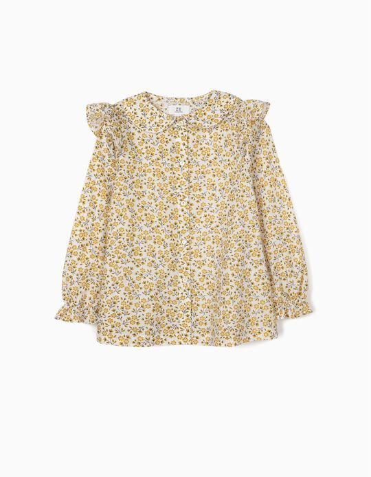 Floral Blouse for Girls, White/Yellow
