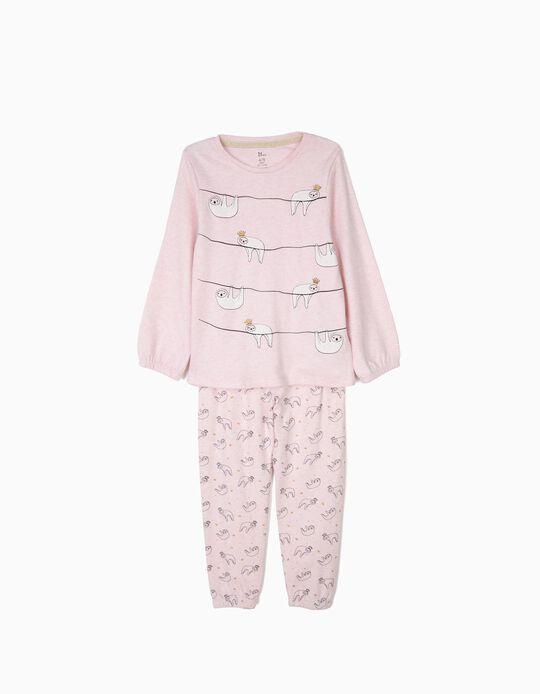 Pijama para Niña 'Queen Sloths' Manga Larga, Rosa Claro
