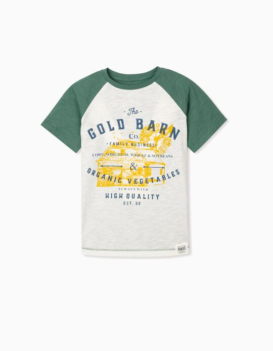 T-shirt in Sustainable Cotton for Boys, 'Barn', Green/White
