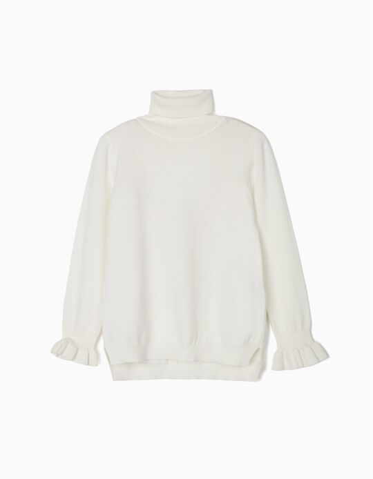 Turtleneck Jumper for Girls, White