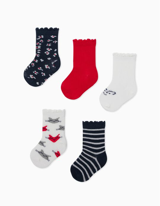 5 Pairs of Socks for Baby Girls, 'Big Cats', White/Red/Blue