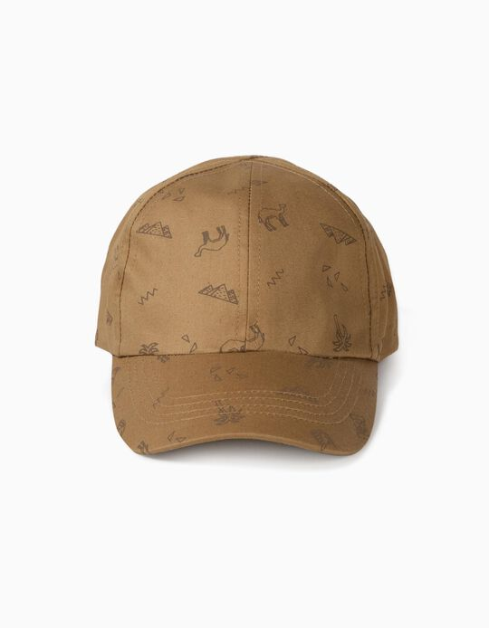 Printed Cap for Boys, Light Brown