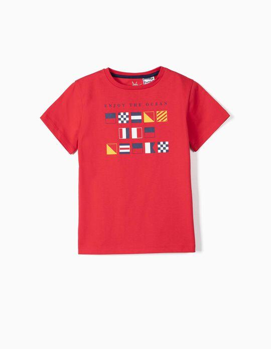 T-shirt para Menino 'Enjoy the Ocean' Anti-UV 30, Vermelho