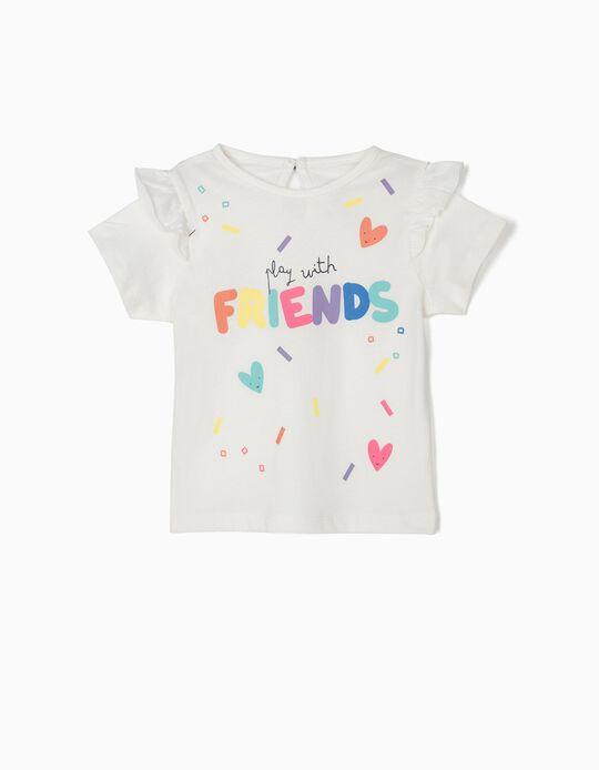 T-shirt para Bebé Menina 'Friends', Branco