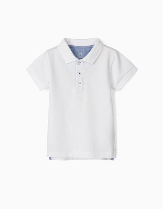 Short Sleeve Polo Shirt for Baby Boys, White